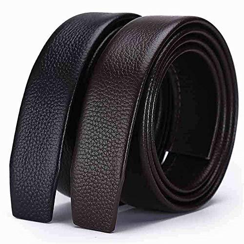 Riem voor heren Men's Belt jurk broek riem eerste laag lederen Edging Male Automatic Buckle Belt Zakelijke kansen, woon-werkverkeer (Color : Black, Size : Free size)