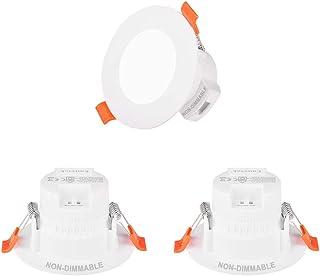 Lamparas Plafon Focos Downlight LED Empotrables Pequeños de Techo 5W IP44 para Baño Cocina Color de Luz Ajustable No Regulable Agujero de Techo Diámetro 65-80MM Lot de 3 de Enuotek