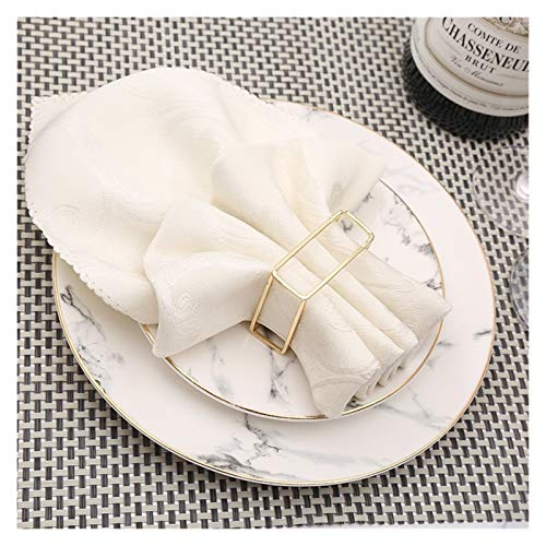 MENGzhuHSA Fashion 10pcs Creative European Hollow Square Napkin Ring Napkin Buckle Wedding Hotel Set Table Decoration Napkin Ring Decoration Accessories (Color : Gold)