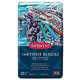 Derwent Inktense - Barras de tinta soluble en agua (12 colores, en estuche de metal)