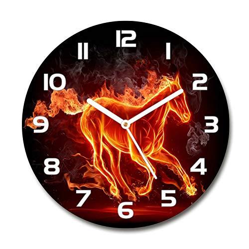 Tulup Redondo Reloj De Pared De Vidrio 60cm Silenciosa Grande Original Moderno Decorativo Manecillas Blancas - El Caballo En Llamas