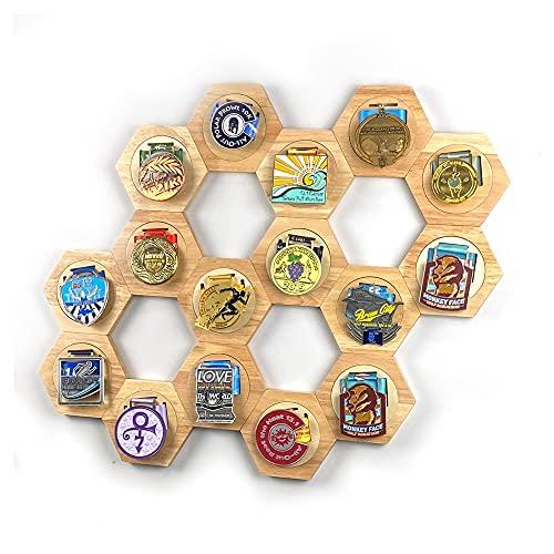 Marco de fotos para medallas, marco de madera hexagonal, marco de madera para fotos, combinación de panal, soporte de exhibición de medallas sin costura, (137,6 x 120 x 15 mm)