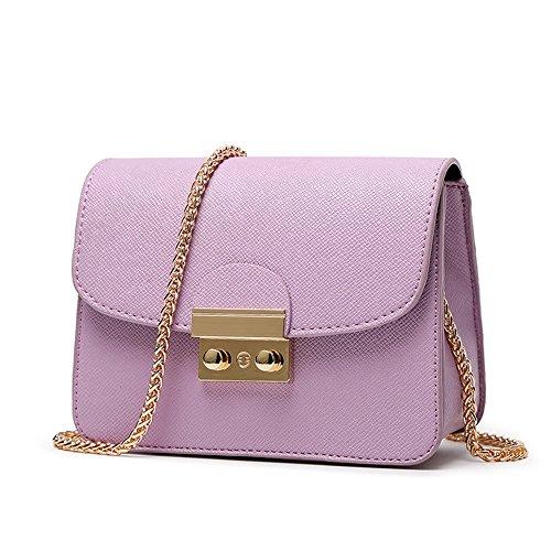 CHIKENCALL Damentasche Kleine Damen Umhängetasche Citytasche Schultertasche Handtasche Elegant Retro Vintage Tasche Kette Band - Violett