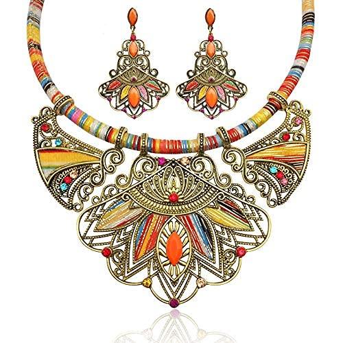 Collar de estilo europeo y americano bohemio, estilo nacional, cuentas de mijo, diamantes de imitación, cuerda trenzada, aretes de combinación de trajes + collares