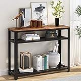 Tribesigns Mesa de consola de 3 niveles, consola estrecha con estantes de almacenamiento de malla, madera industrial y metal delgado para pasillo de entrada de sala de estar (marrón rústico)