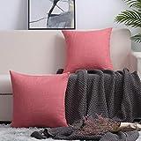 Paquete de 2, mezcla de lino de algodón cubierta cuadrada decorativa cubierta de almohada cojín fundas de almohada, decoraciones de decoración para el hogar para Sofá Silla de cama de sofá 18x18 pulga