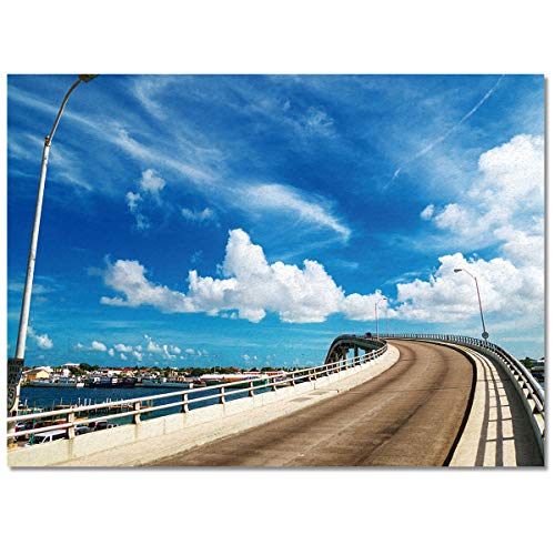 PartyShow Modern Area Rug Easy to Care, Bridge Blue Sky White Cloud Scenery Low Pile Skid Resistance Durable Non-Woven Fabric Floor Mat, 5' x 8'