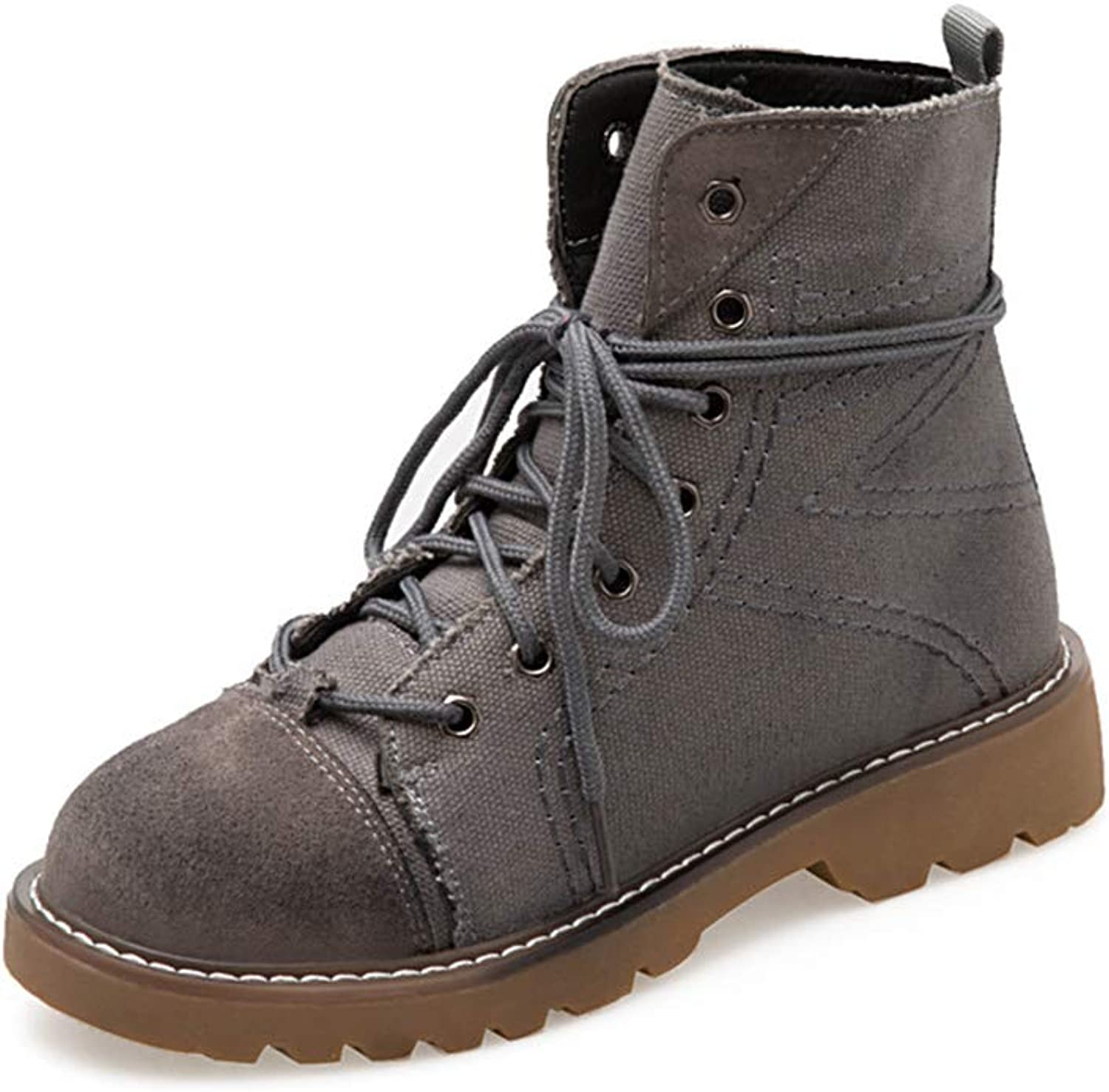 Retro Martin Boots for Women, Fashion Round Toe Ankle Boots, Lace-up Booties, Casual Flat shoes