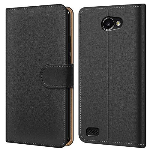 Conie BW14867 Basic Wallet Kompatibel mit LG Bello 2, Booklet PU Leder Hülle Tasche mit Kartenfächer und Aufstellfunktion für Bello 2 Case Schwarz
