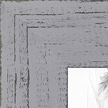 ArtToFrames 10x13 inch Weathered Barnwood in Saturated Grey Wood Picture Frame, WOMSM-ECO150-GRY-10x13
