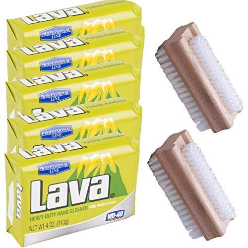 Lava Heavy-Duty Hand Cleaner Pumice soap with Moisturizers (Professional Line), 5-bars [4 OZ each] with 2 Sparklen Wooden Nail Brushes