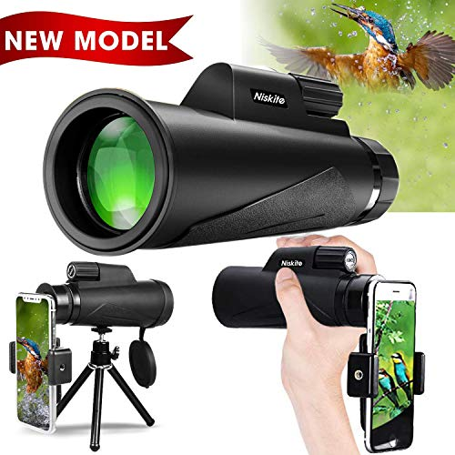 Monocular Telescope for Adult, [Newest 2019] High Power 12x50 Compact Monoculars Scope for Smartphone,Waterproof Shockproof HD BAK4 Prism FMC Monoscope for Bird Watching, Hunting, Camping, Travel