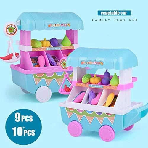 LEIXNDPLBO Simulatie Mini Muziek Groente Winkelwagen Kinderen Speelhuis Trolleys Speelgoed Mini Trolleys Fruit Groente Kookgerei, Groenten