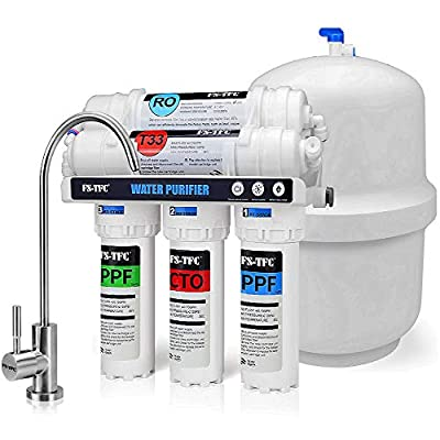 FS-TFC Reverse Osmosis Water Filtration System Under Sink Water Filter 5-Stage 100 GPD Plus Extra Set of 4 Filters for Free (FS-RO-100G-A)