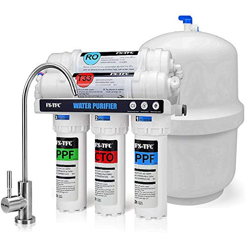 FS-TFC 5-Stage Reverse Osmosis Water Filtration System 100GPD Fast Flow Plus Extra 4 Filter for Free (FS-RO-100G-A)
