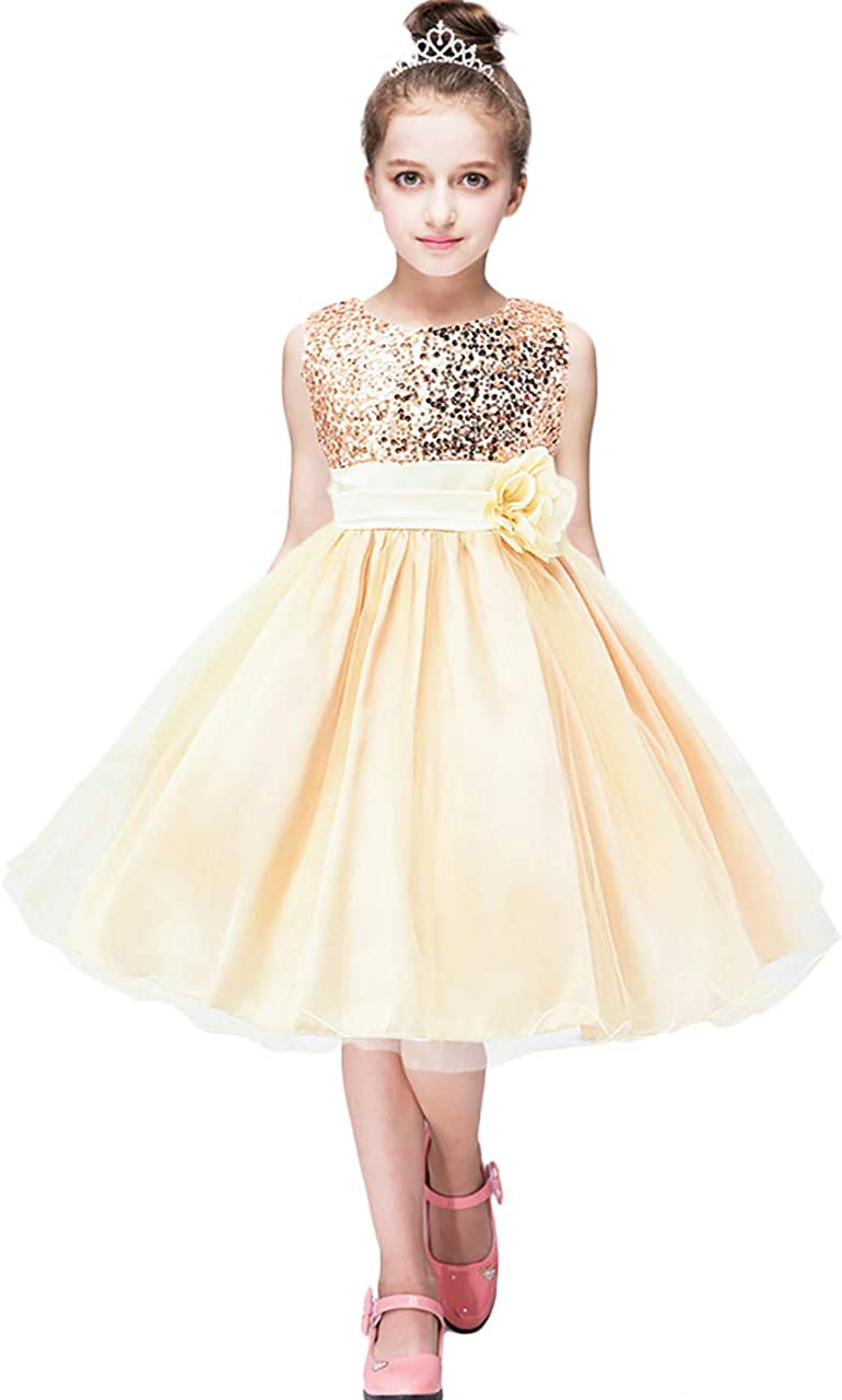 OMZIN Girls Sequin Flower Bow Princess Wedding Party Lace Tutu Dress