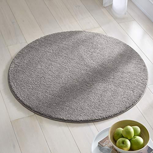 Teppich Wölkchen Kurzflor Teppich I Flauschige Flachflor Teppiche fürs Wohnzimmer, Esszimmer, Schlafzimmer oder Kinderzimmer I Einfarbig I Dunkelgrau - 160 rund