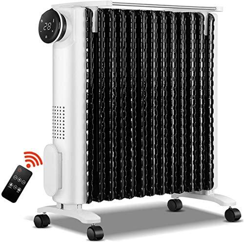 Radiador de Aceite Calentador de espacio eléctrico - Pantalla LED - Calefacción rápida - 3 Configuraciones de alimentación Temporizador ajustable Termostato Sobrecalentamiento Protección de seguridad