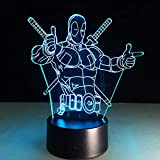 The Avengers Dead Pool Lámpara de mesa LED 3D de Marvel Superhéroe 7 cambio de color luces LED ilusión visual