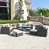 ovios Patio Furniture Set, Big Size Outdoor Furniture Sets,PE Rattan Wicker sectional with Pillows and Furniture Cover, No Assembly Required (Grey-Grey)