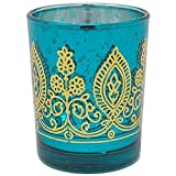 Boho Henna Mercury Glass Votive Candle Holder 2.75' Teal - Excellent Home Decor - Indoor & Outdoor