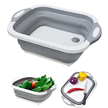 Mannikesi Folding Cutting Board M7, with Plastic Silicone Colander Dish Tub, for Kitchen Chopping Board and Washing Vegetable Basket, Portable Collapsible Cutting Board
