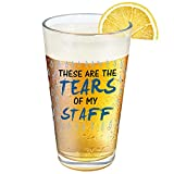 Modwnfy Novelty Bosses Day Gifts for Boss, 15 Oz Boss Beer Glass, These Are the Tears of My Staff Beer Pint Glass, Funny Boss Gift Idea for Boss Male Him Men Employer on Christmas Birthday Retirement