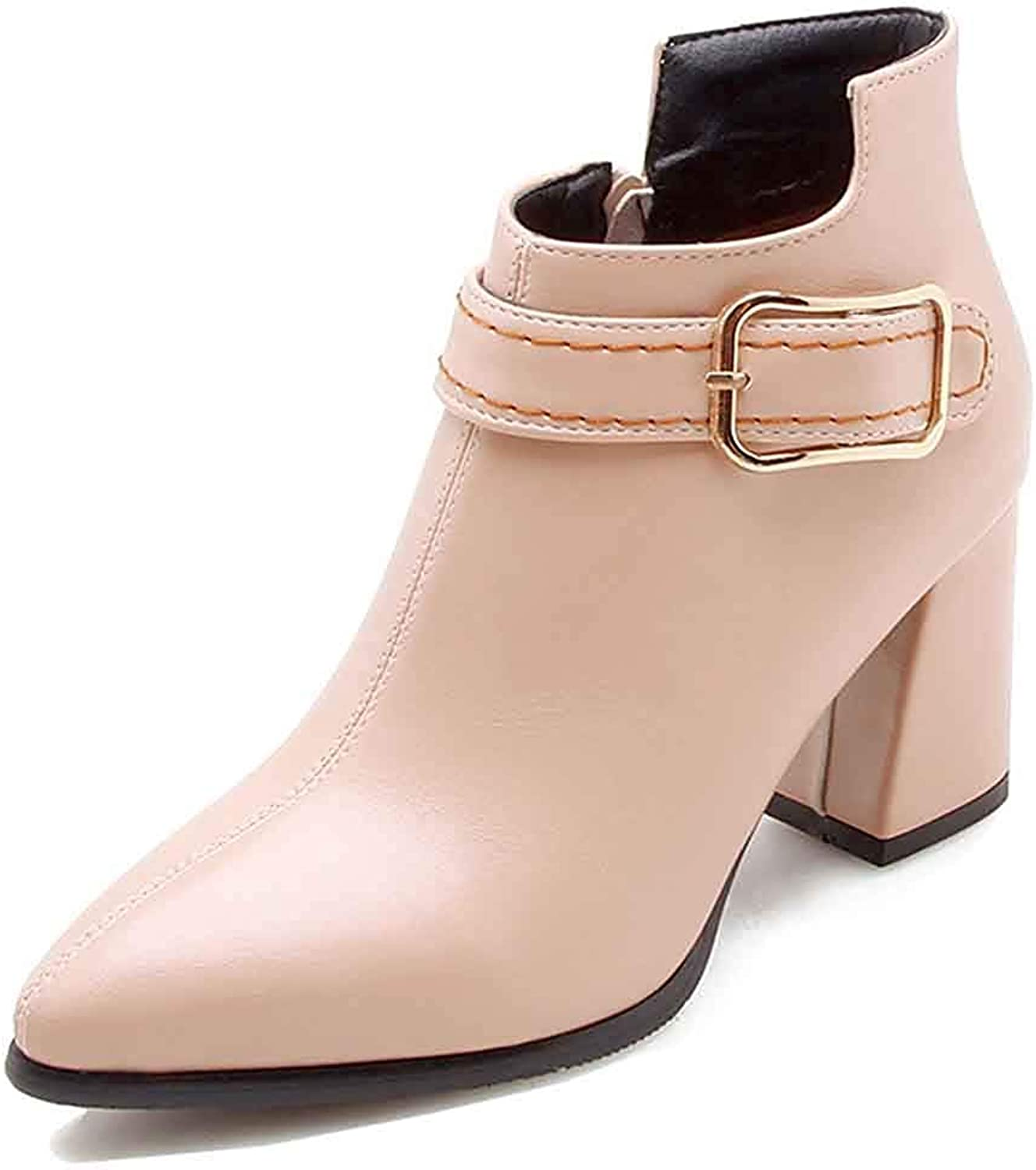 Unm Women's Stylish Pointy Toe Ankle Booties Dressy Buckle Strap Chunky High Heel Short Boots with Zipper