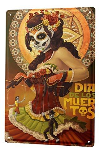 LEotiE SINCE 2004 Blechschild Metallschilder Wandschild Blech Poster Retro Dia de los Muertos