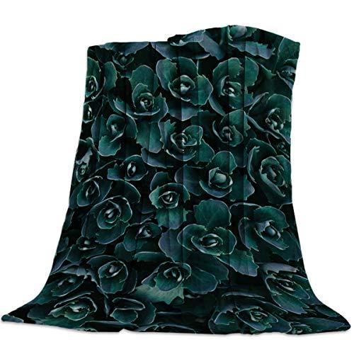 Yaxinduobao Flannel Fleece Bed Manta Warm Fuzzy Plush Fleece Manta Garden Decoration Dark Green Plants Lightweight Manta Super Soft for Bed/Couch/Sofa 50x59 Inch