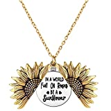 DTWAWA Collar de Girasol, Collar Colgante Abierto Grabado de Moda Vintage para Mujer