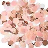AUSYDE Coriandoli di Carta velina in Oro Rosa 2,5 Centimetri Confetti da Tavolo di Carta velina, per Matrimoni, Compleanni, Baby Shower, Laurea, Cerimonie, Decorazioni per Feste  70g.