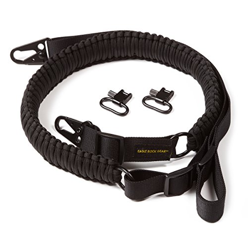 Eagle Rock Gear 550 Paracord 2 Point Gun Sling for Rifles, Shotguns, Crossbows, Airsoft - with Easy Adjustable Strap, HK Clips, Swivels (Black)