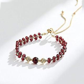 NYKK Bracelets Burgundy Garnet Bracelet Female Natural Authentic Gold Transfer Bead Crystal Bracelet Jewelry Womens Bracelet