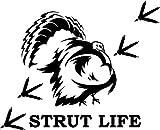 Strut Life Turkey Hunting Vinyl Decal Sticker- 20' Wide Matte Black Color