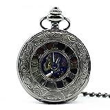 Mano de obra elegante y simple, exquisita, buenos Reloj de bolsillo Antiguo Esqueleto Azul Números romanos Dial Estuche de aleación negra Mecánica Mano Viento Long Fob Cadena Reloj Hombres Reloj de bo