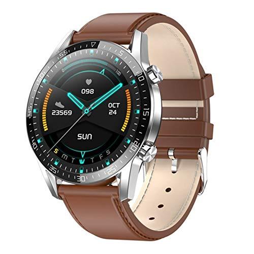 NVFED Smart-Uhr-Mann-EKG PPG Herzfrequenz Körpertemperaturüberwachung IP68 wasserdicht Fitness Tracker Smartwatch PK L13 T1 L7 X6 R8 T9 (Color : Silver Brown Leather)