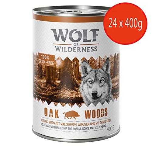 Wolf of Wilderness Erwachsenen-Sparpackung, 24 x 400 g, Eichenholz, Wildschwein