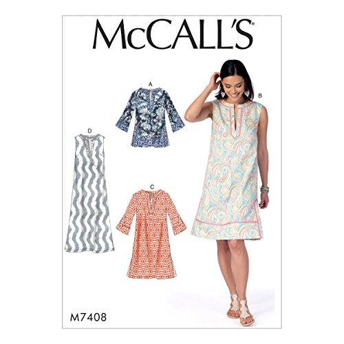 McCall 's Patterns 7408Y Schnittmuster Tunika und Kleider Schnittmuster, Tissue, mehrfarbig, Größen XS–Medium