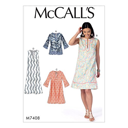MCCALL 's Patterns 7408 Túnica y patrón de Costura para Vestidos, Seda, Multicolor, tamaños XS – Medium