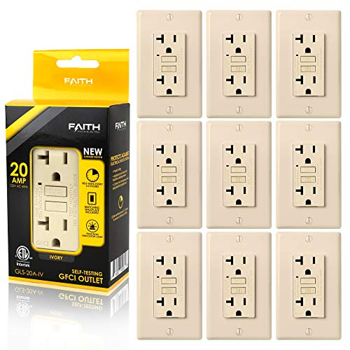 Faith [10-Pack] 20A GFCI Outlets Slim, Non-Tamper-Resistant GFI Duplex Receptacles with LED Indicator, Self-Test Ground Fault Circuit Interrupter with Wall Plate, ETL Listed, Ivory, 10 Piece