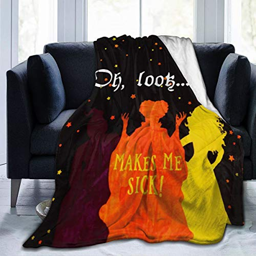 Halloween Oh Look Makes Me Sick Bed Blanket Plush Blanket Super Soft Warm Cozy Luxury Lightweight Throw blanket Microfiber Reversible Blanket for Sofa Chair Couch for Baby Spring Fall(40''x50'')