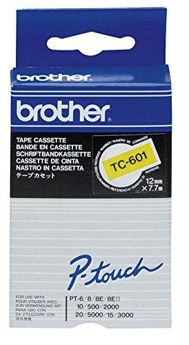 brother Beschriftungsband TC-601 / 12 mm / Druck schwarz / Band gelb / für brother P-touch 8e, 500, II, 2000, 3000, 5000