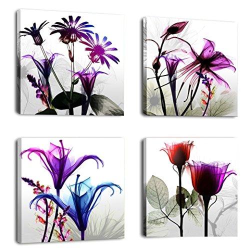 4 Paneles Giclee Moderno Impresiones Obra de Flores Fotos Pinturas de Fotos Impresión en Lienzo Arte de Pared para Paredes de Casa Decoración Estirada y Enmarcada Listo para colgar