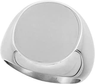 Surgical Stainless Steel Large Oval Signet Ring Solid Back Flawless Finish 3/4 inch, Sizes 8 to 13