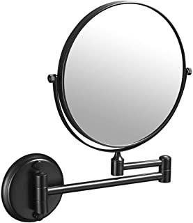 Makeup Vanity Mirror, Two-Sided Wall Mounted Beauty Mirror 3X Magnification Cosmetic Mirror 360° Swivel Extendable Bathroom Mirror,Black_8inch, Bathroom