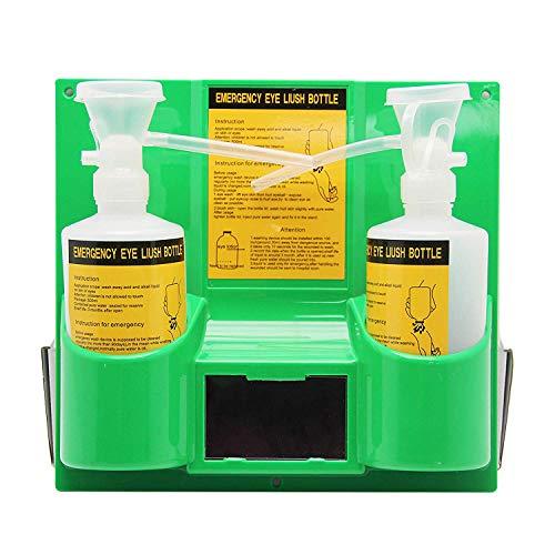 Clicke Plástico Portátil Montado En La Pared Estación De Lavado para Ojos Botella Doble De Plástico para Ducha Facial para Laboratorio De Lavaojos