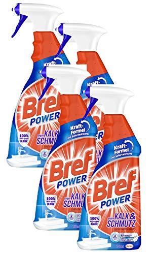 Bref Power gegen Kalk und Schmutz, Kalkreiniger, (4er Pack 4 x 750 ml), Sprühflasche, für hygienische Sauberkeit