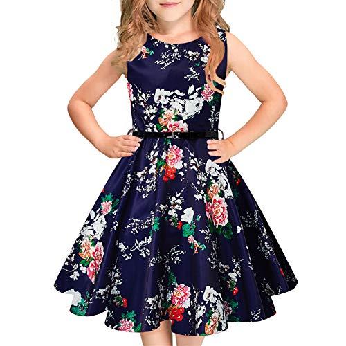 Idgreatim Mädchen Halloween Sommerkleid Kürbis 1950 Rockabilly Swing Sommerkleid, Black, Gr.- 7-8 Jahre/ Medium