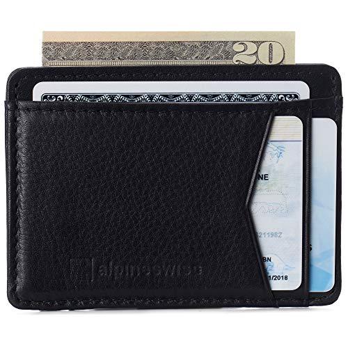 Alpine Swiss RFID Minimalist Oliver Front Pocket Wallet For Men Leather York Collection Soft Nappa Black